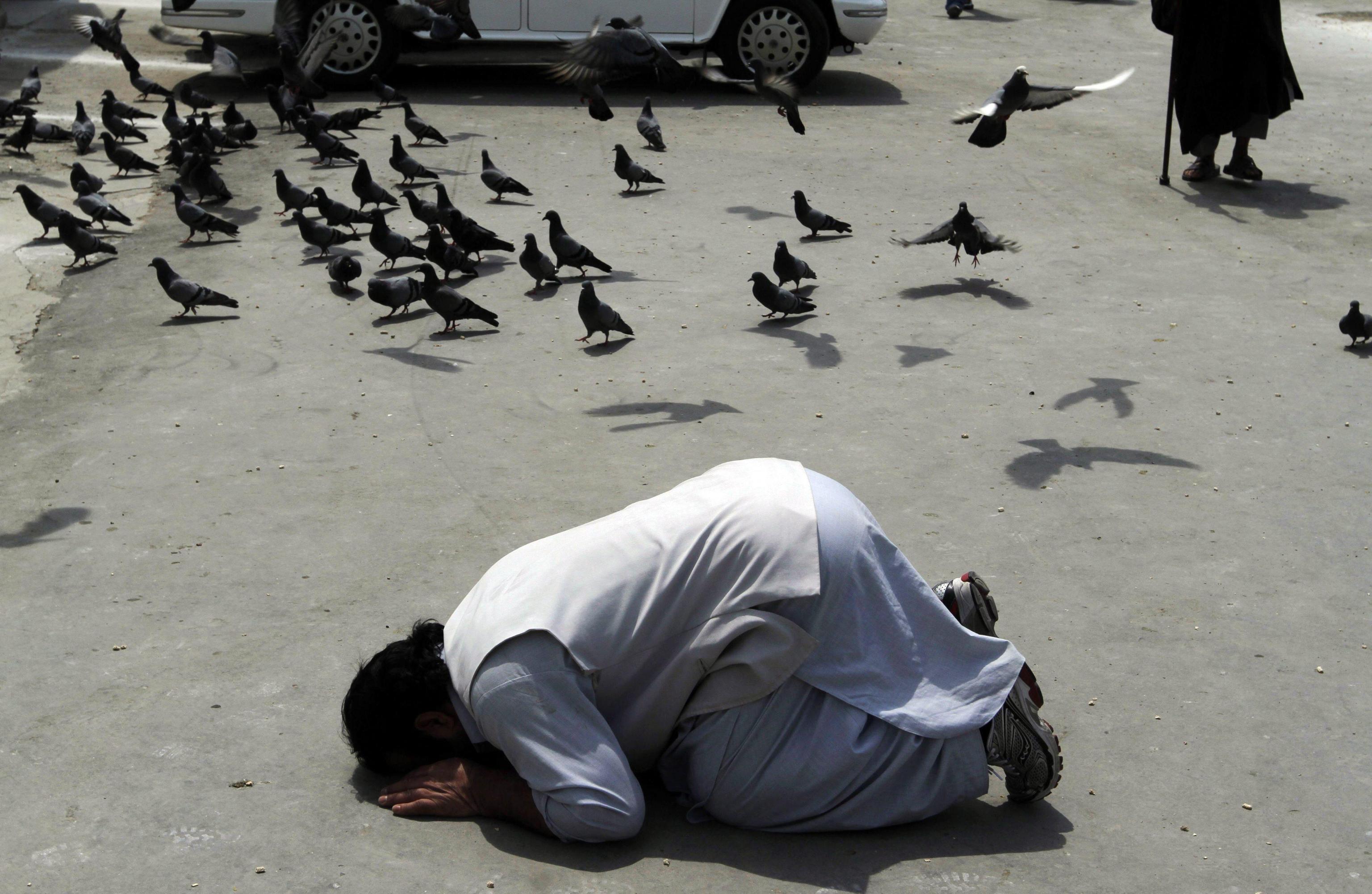 Blocca il traffico per pregare in strada, intervengono i finanzieri e li prende a sassate