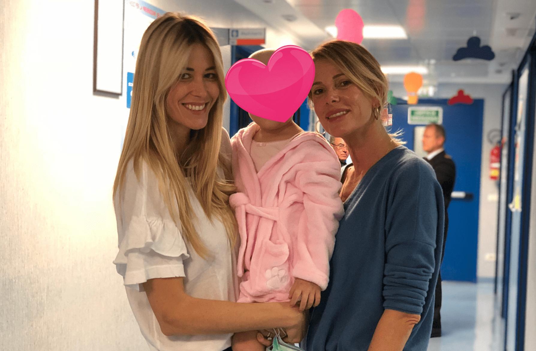 alessia marcuzzi e elena santarelli in ospedale dal figlio malato della showgirl
