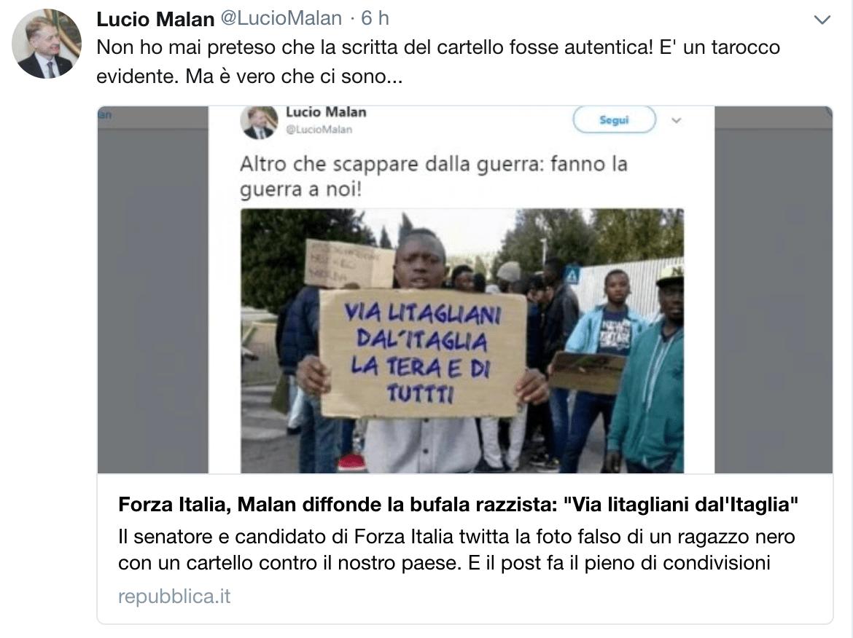 La bufala razzista diffusa dal senatore di Forza Italia Lucio Malan