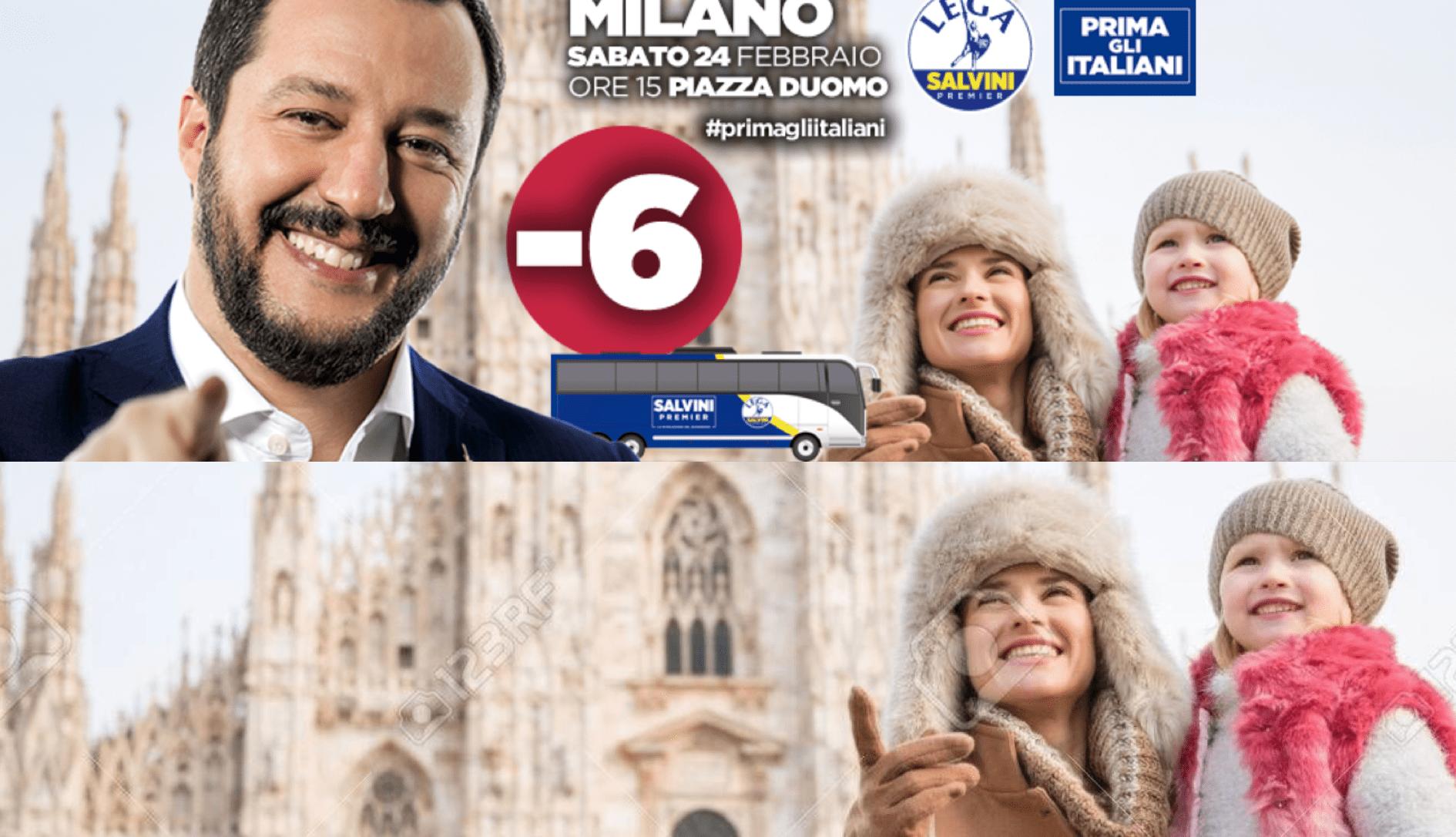 Salvini e manifesti Prima gli italiani senza neanche un italiano