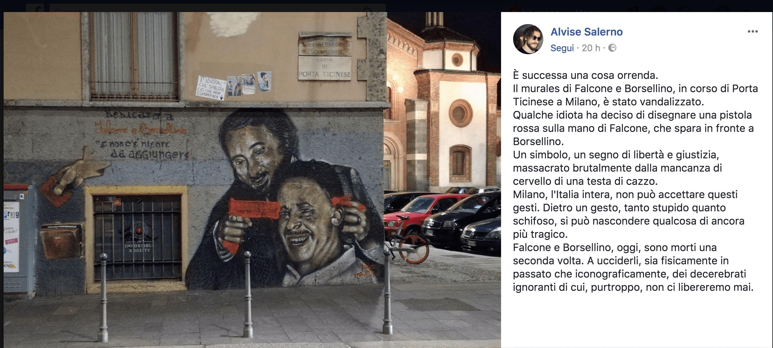 Falcone e Borsellino, oltraggiato e poi ripulito il murales a Milano