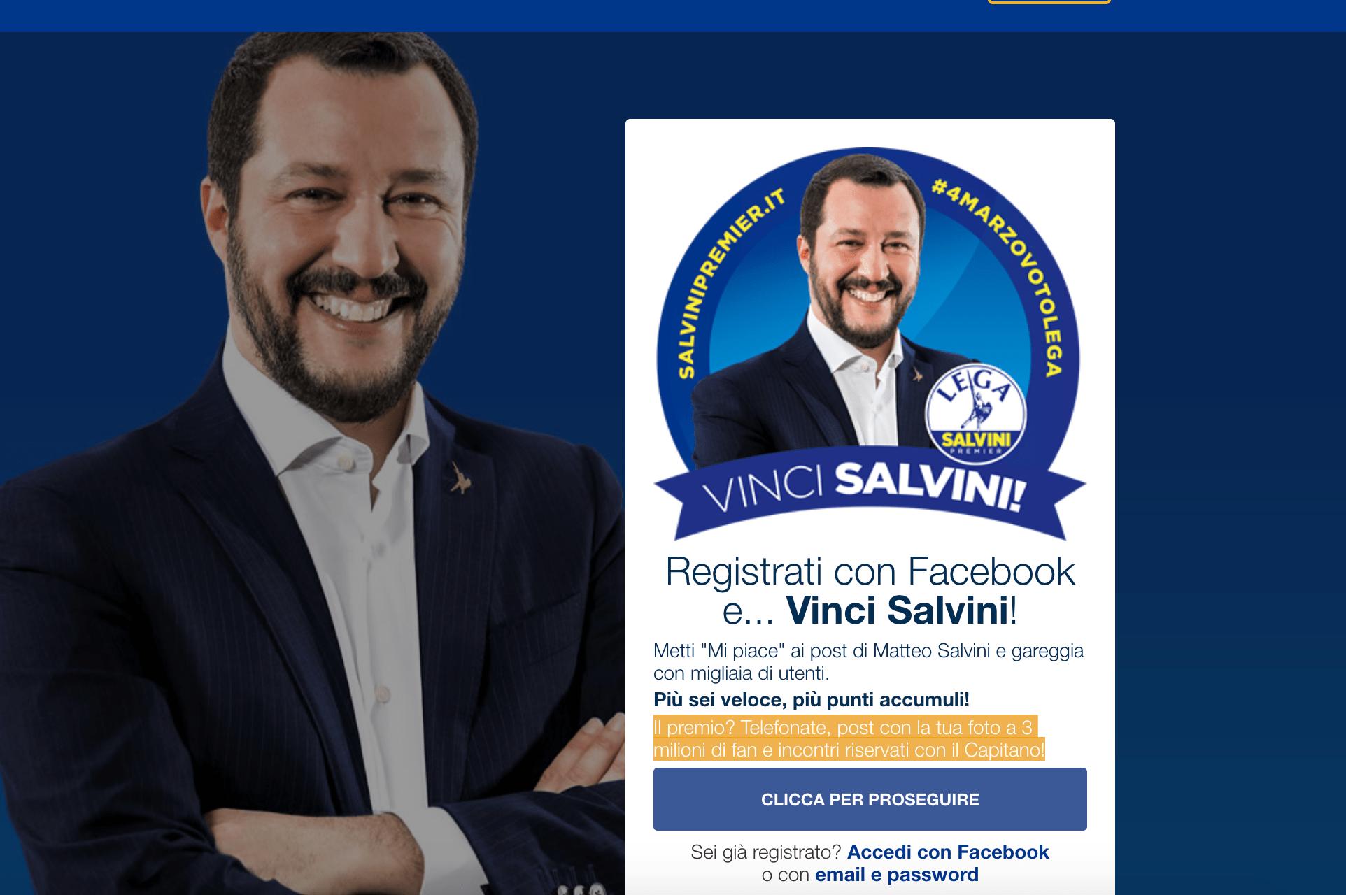 Elezioni 2018, arriva 'Vinci Salvini': il concorso a premi sui social del leader della Lega