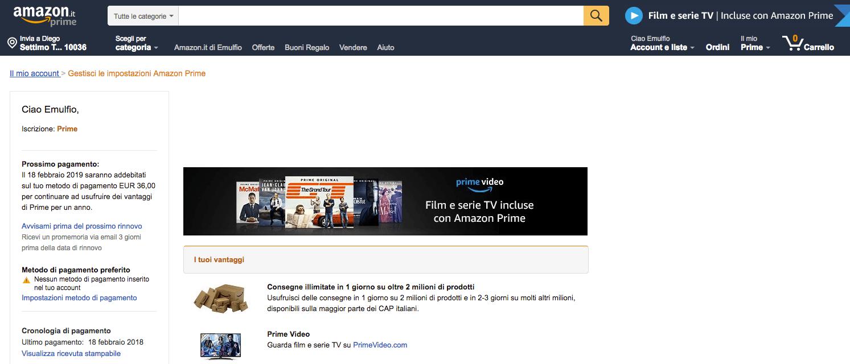Amazon Prime pagina