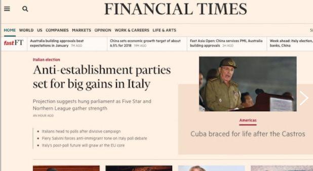 Elezioni 2018 Financial Times