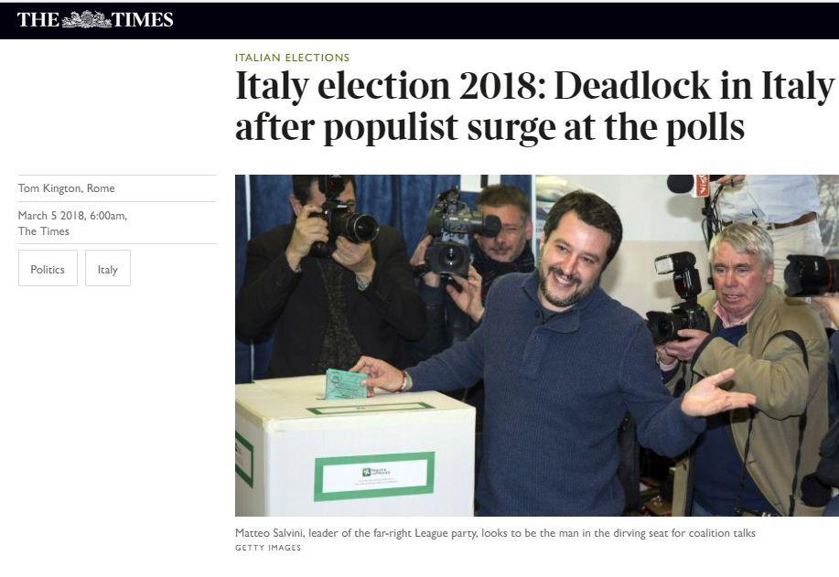 Elezioni 2018 The Times