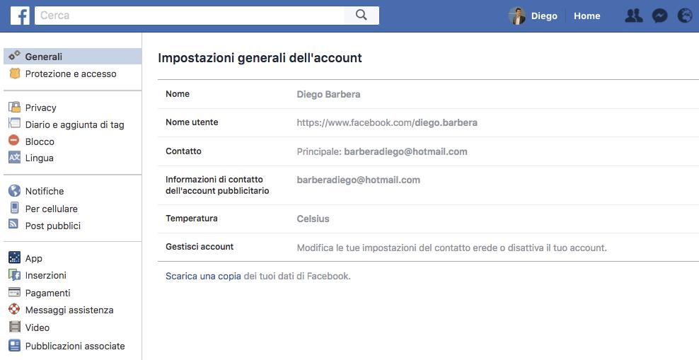 Facebook scarica dati
