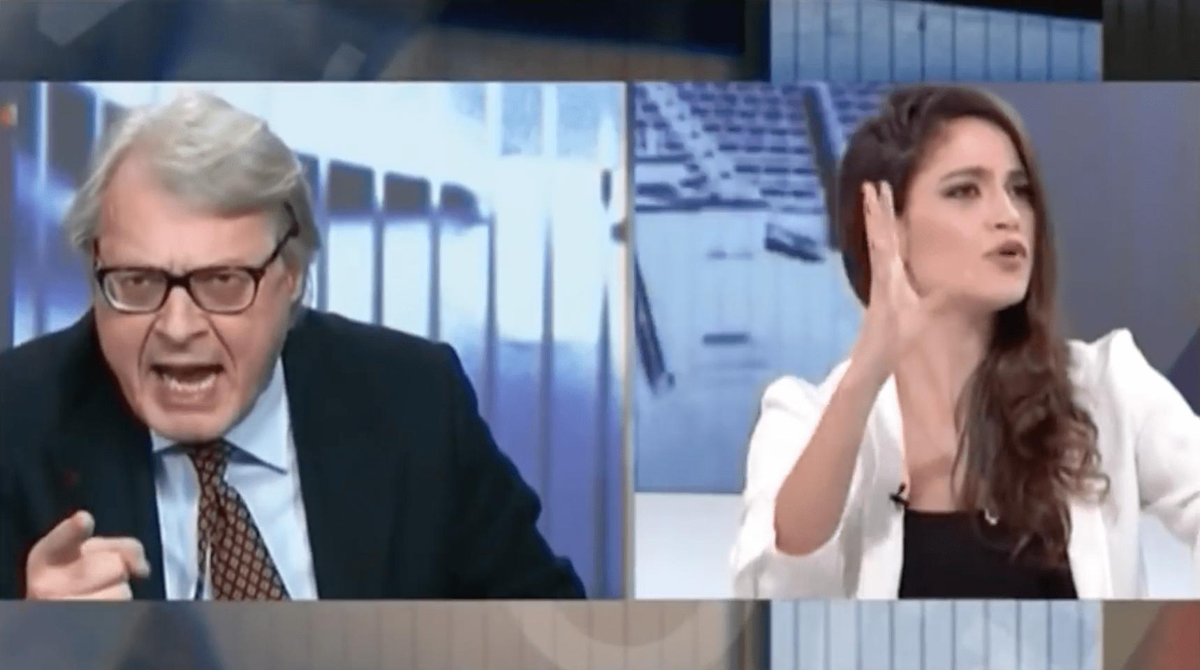 Vittorio Sgarbi furioso contro Veronica Gentili a Dalla Vostra Parte: 'Non ha cervello'