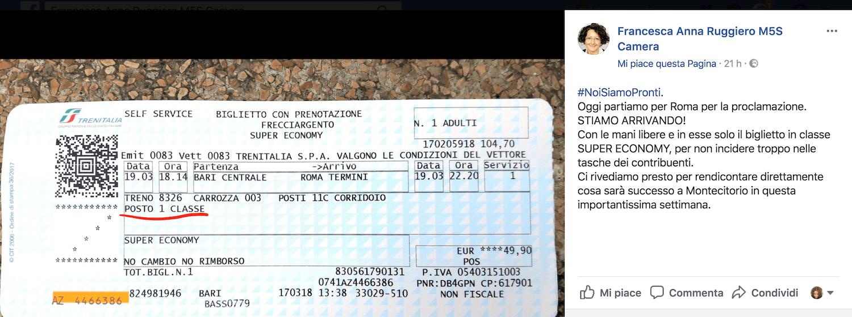 Deputata M5S dice di viaggiare in economy ma il biglietto è di prima classe