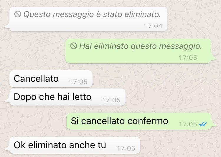 cancellare messaggi inviati su whatsapp