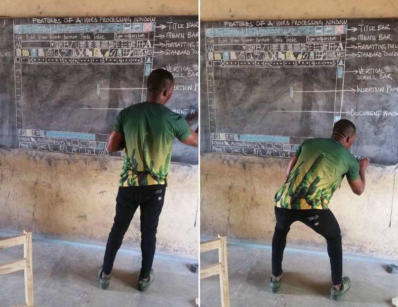 Maestro del Ghana insegna a usare Word disegnando alla lavagna, Microsoft promette nuovi pc