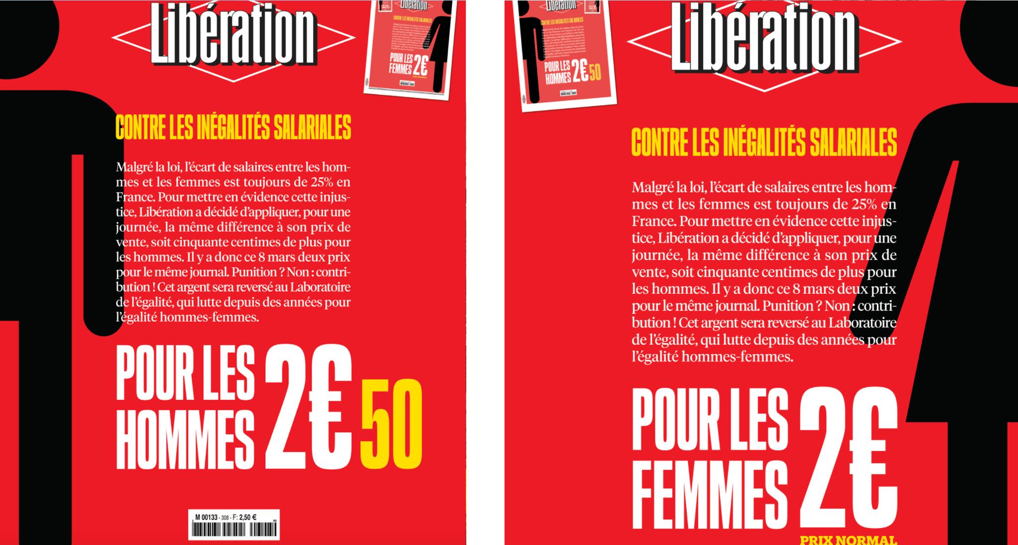 8 Marzo, Libération fa pagare il giornale più agli uomini contro la disparità salariale
