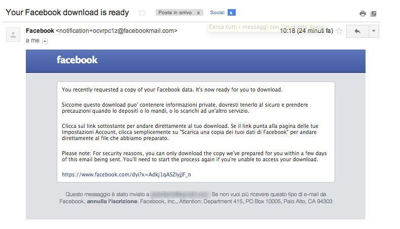 Backup foto Facebook mail