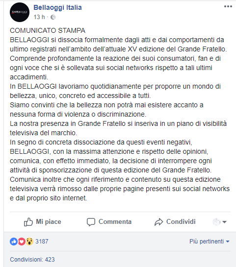 Bellaoggi Italia interrompe collaborazione con il grande fratello
