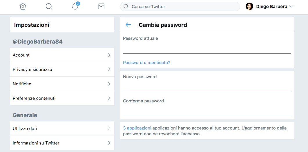 Cambia Password Twitter