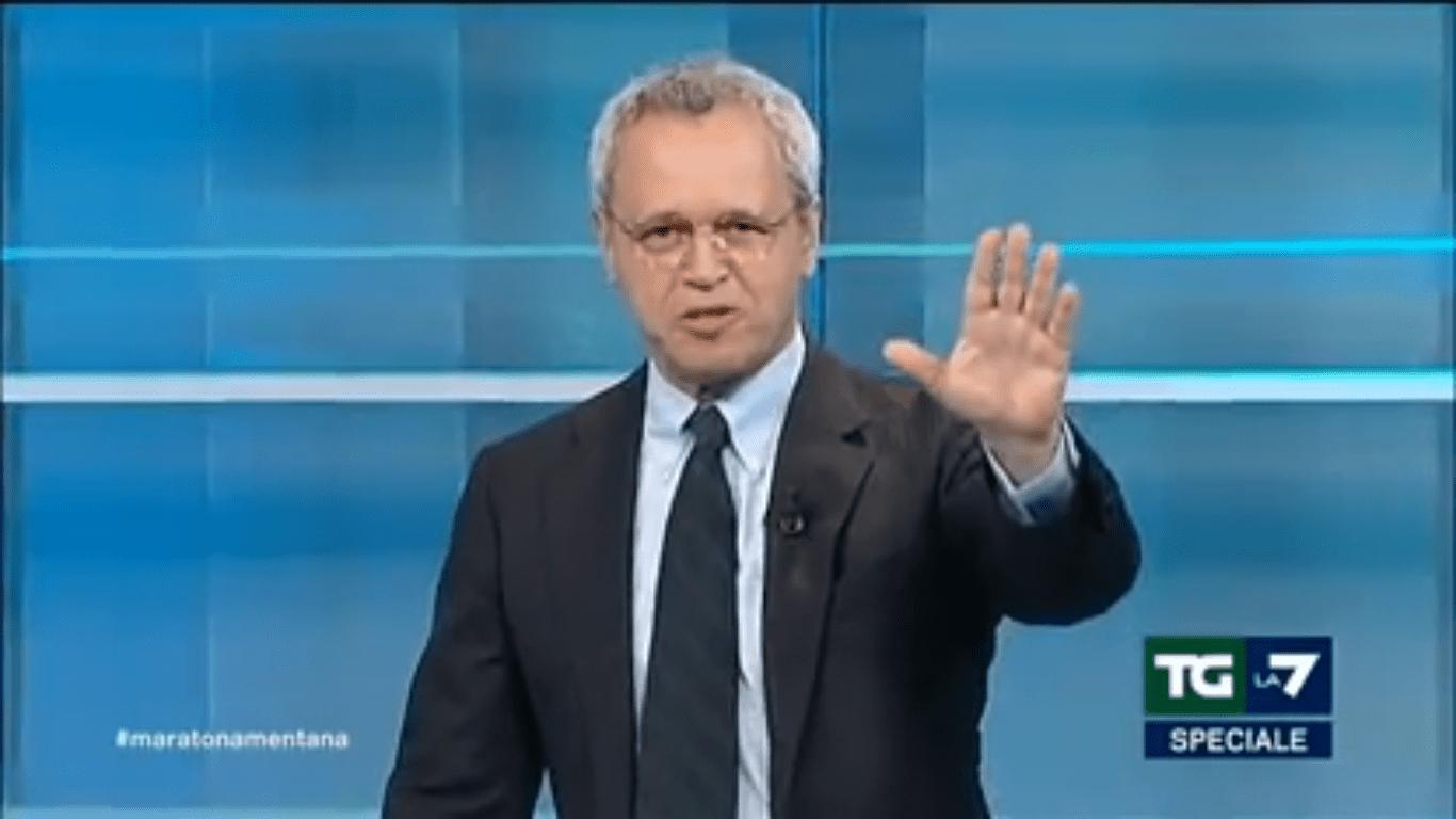 Enrico Mentana saluta lamberto sposini