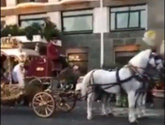 Prima Comunione a Napoli con carrozza, cavalli e sbandieratori [VIDEO]