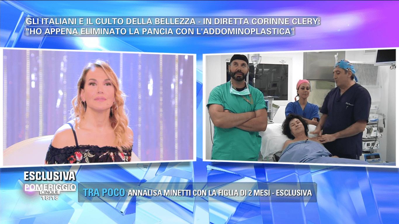 Corinne Clery in ospedale per un intervento di addominoplastica: 'Mi ha convinta Serena Grandi'