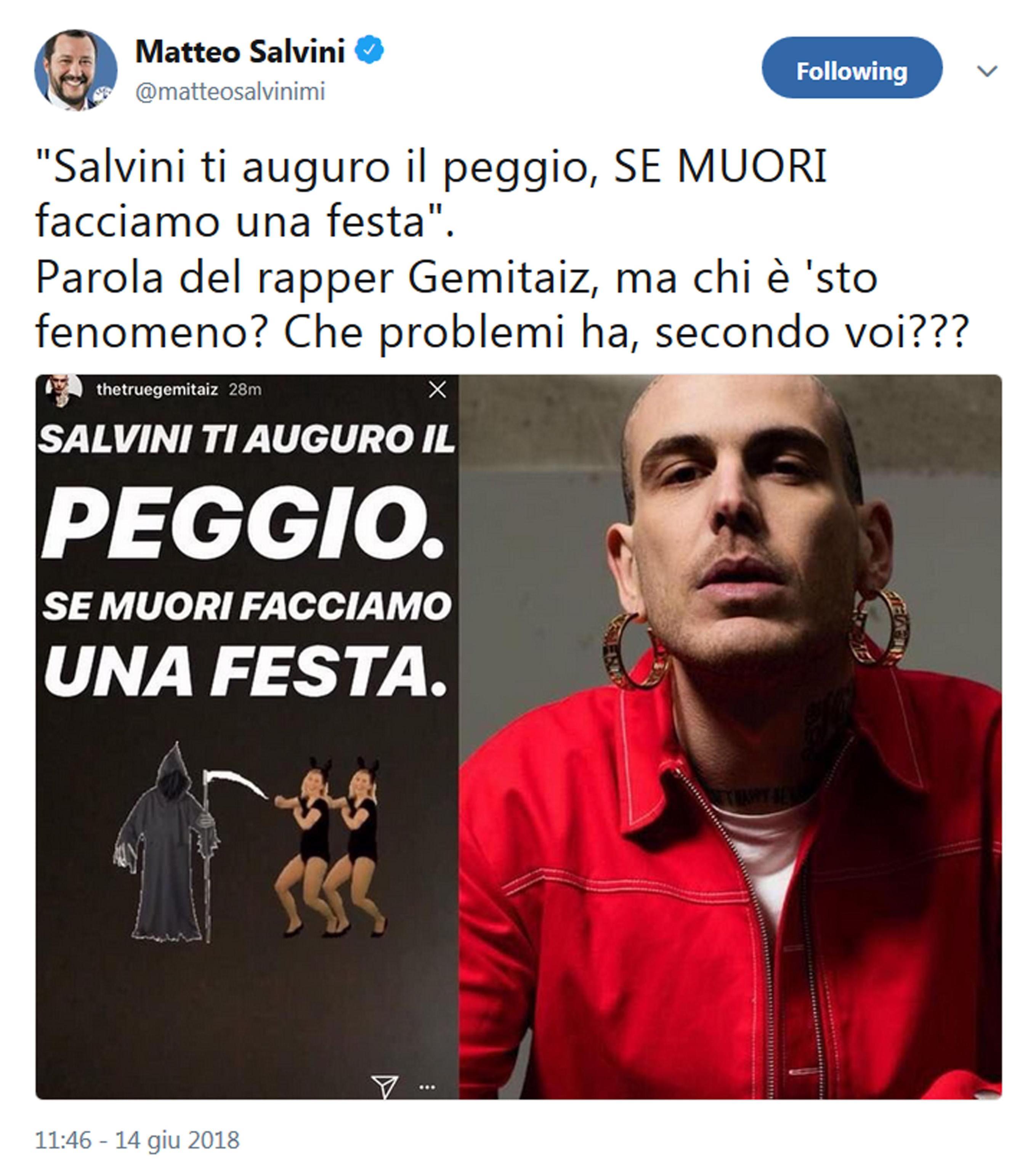 """Il rapper Gemitaiz augura la morte a Salvini, il ministro su Twitter: """"Ma chi è sto fenomeno"""""""