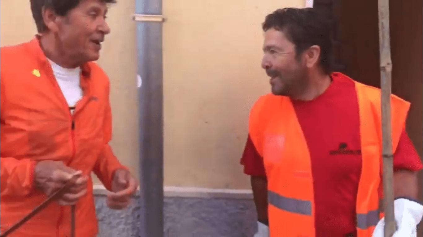 Gianni Morandi in Sardegna duetta con il netturbino
