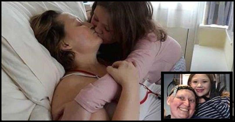 bambina bacia la mamma in fin di vita