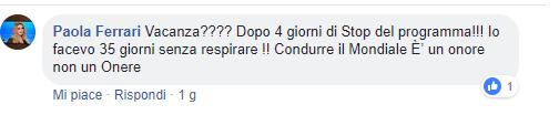 Paola Ferrari commento contro Ilary Blasi