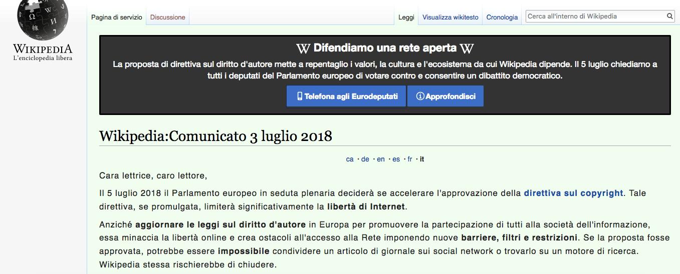 Perché Wikipedia Italia è oscurata e perché nel resto del mondo funziona