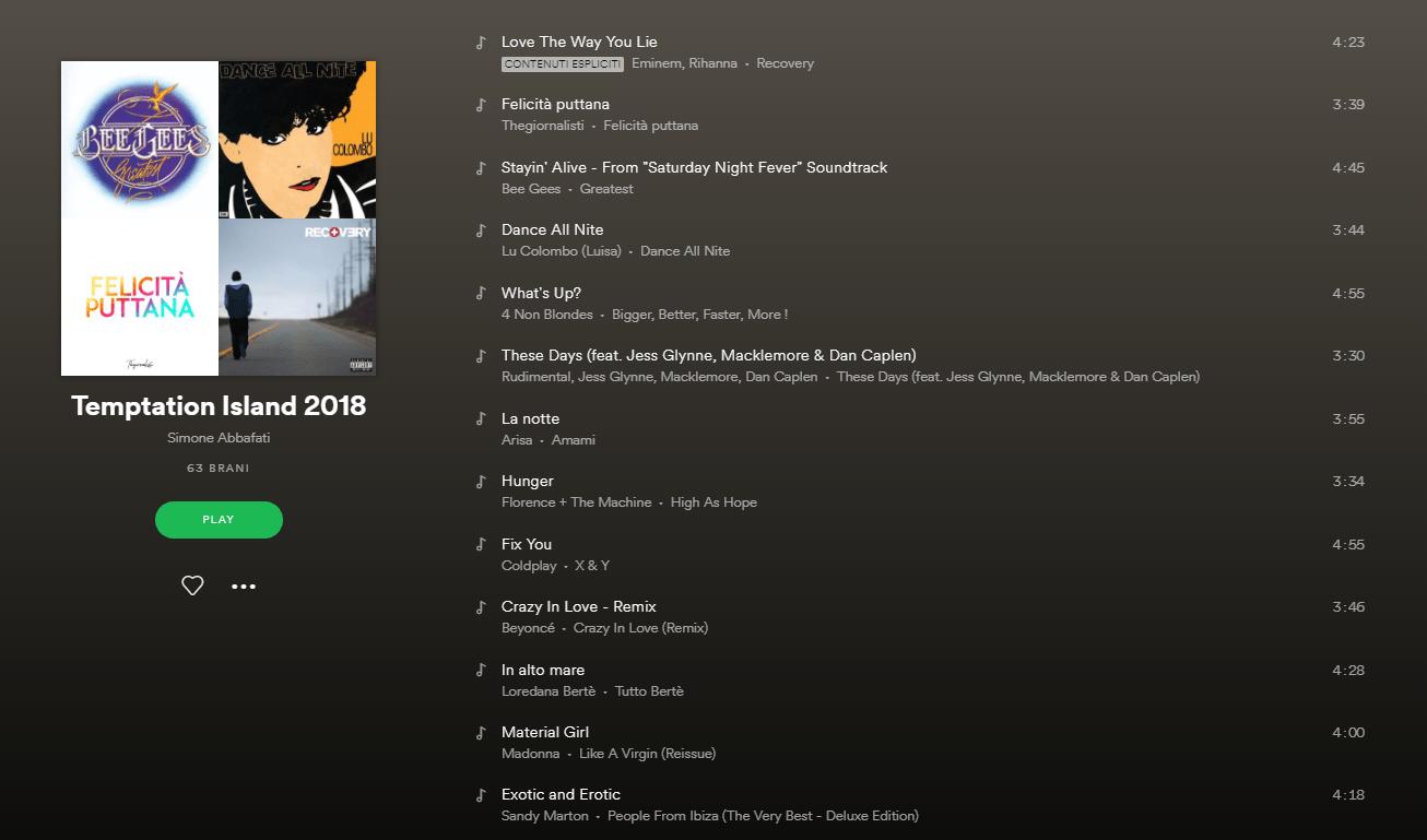 playlist spotify Temptation island 2018