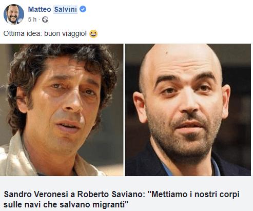Salvini risponde a Sandro Veronesi che scrive una lettera aperta a Roberto Saviano sui migranti
