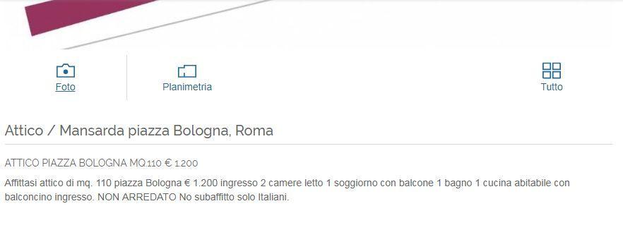 Affitto Roma Piazza Bologna