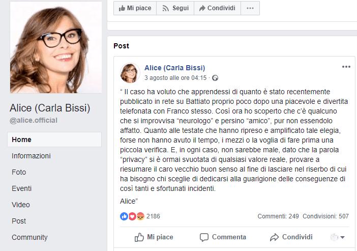 Alice Franco Battiato post facebook