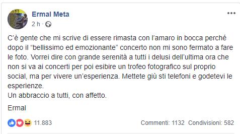 Ermal Meta il post contro i fan
