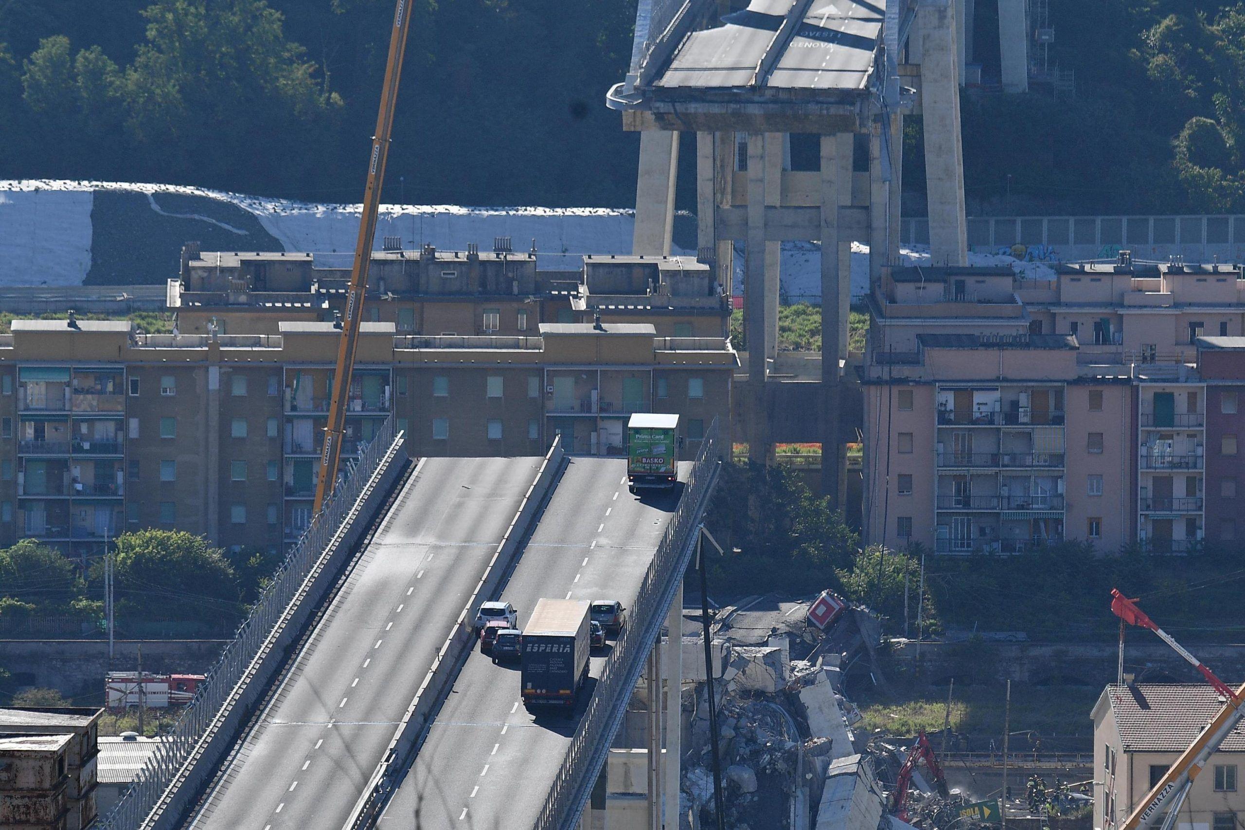 Bridge collapsed on Genoa higway