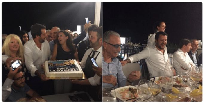 A Genova si scava e Matteo Salvini festeggia coi leghisti di Messina