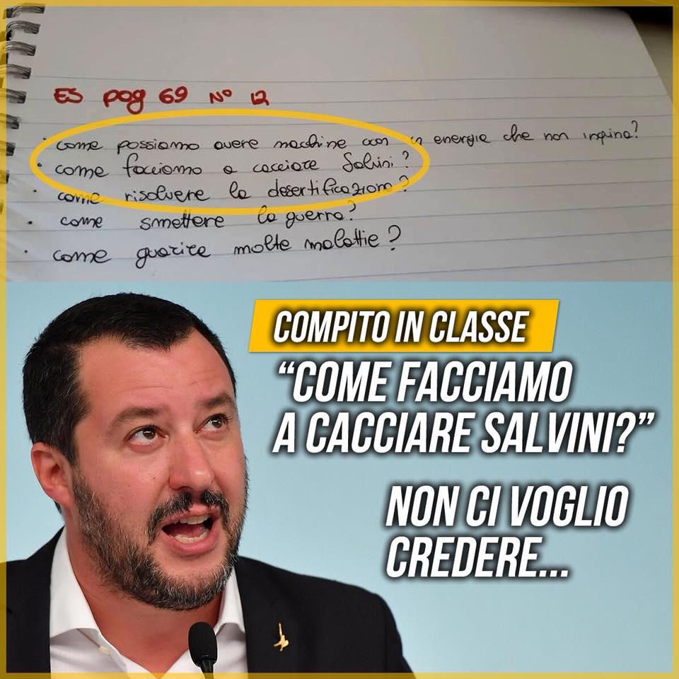 Lega, il partito denuncia: 'Prof dà un tema su come cacciare Salvini'