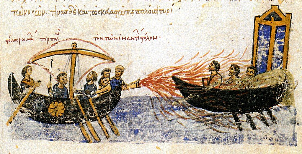 macchine dell'antichità fuoco greco