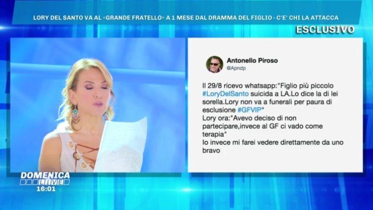 Domenica Live, Marco Cucolo difende Lory Del Santo: 'Nessun funerale per il figlio Loren'