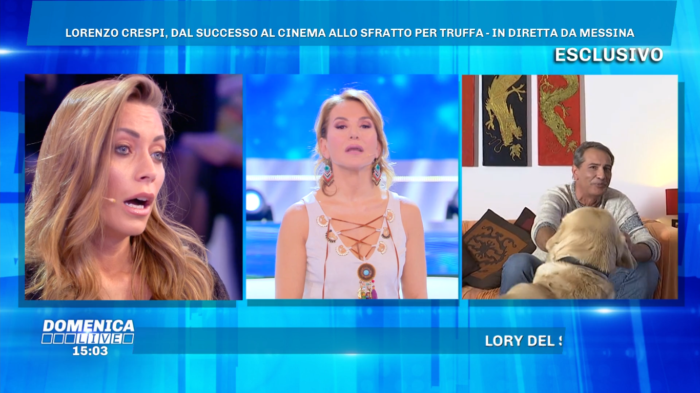 Lorenzo Crespi e Karina Cascella, lite a Domenica Live: 'Sei un essere inutile'
