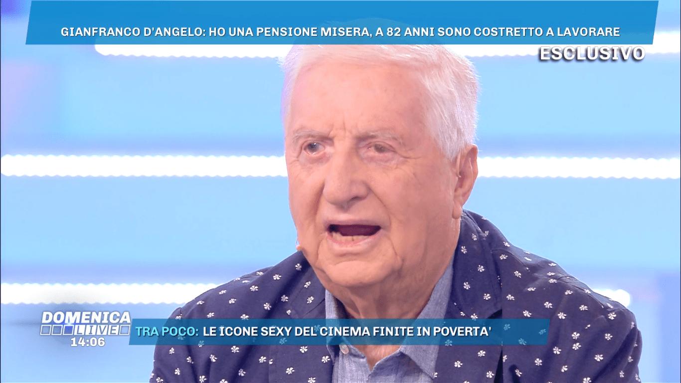 Gianfranco D'Angelo a Domenica Live: 'I 2000 euro della pensione non mi bastano'