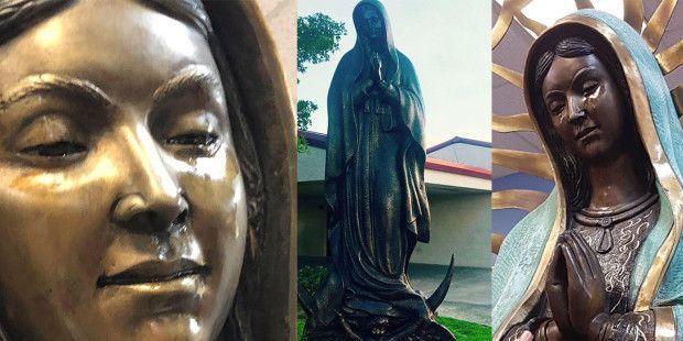 maria guadalupe statua madonna che piange