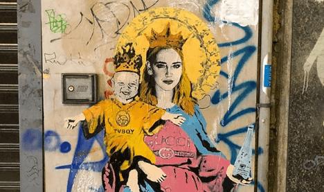 Chiara Ferragni e Leone trasformati nella Madonna e il bambinello
