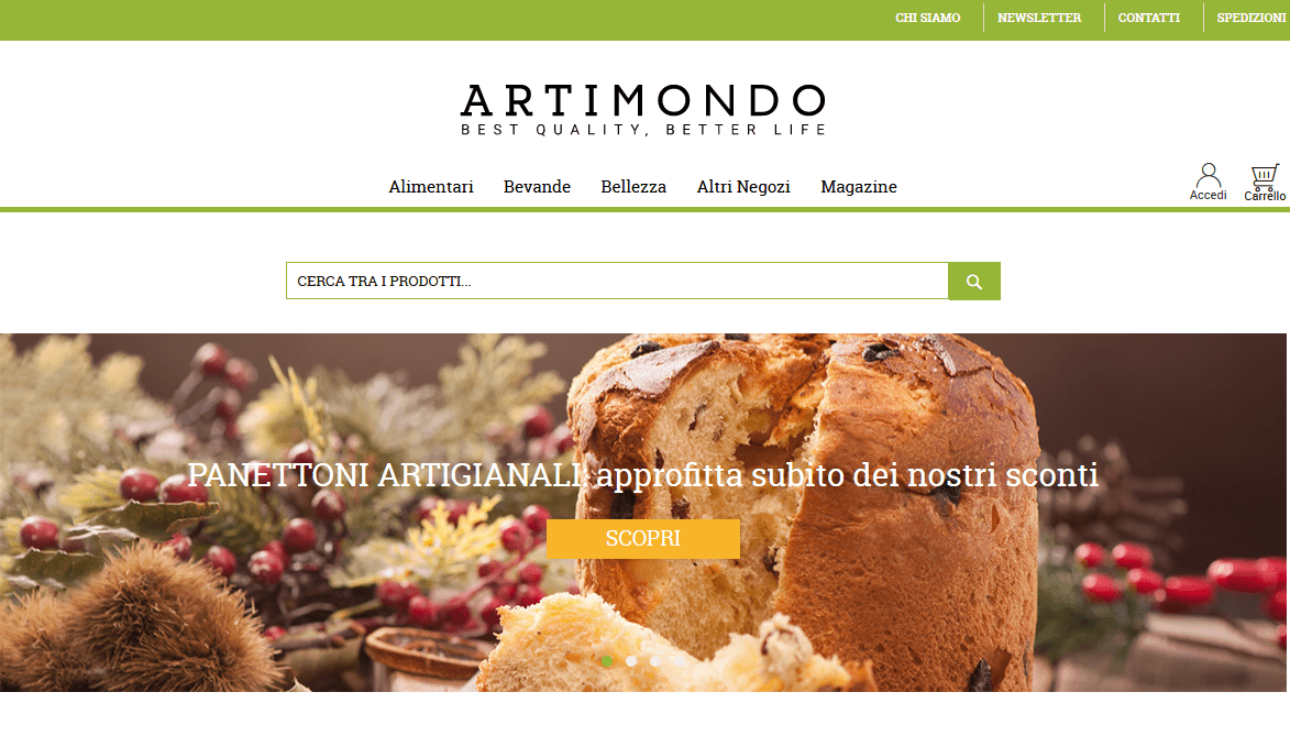 Artimondo: nuova veste grafica per l'e-commerce dei prodotti artigianali