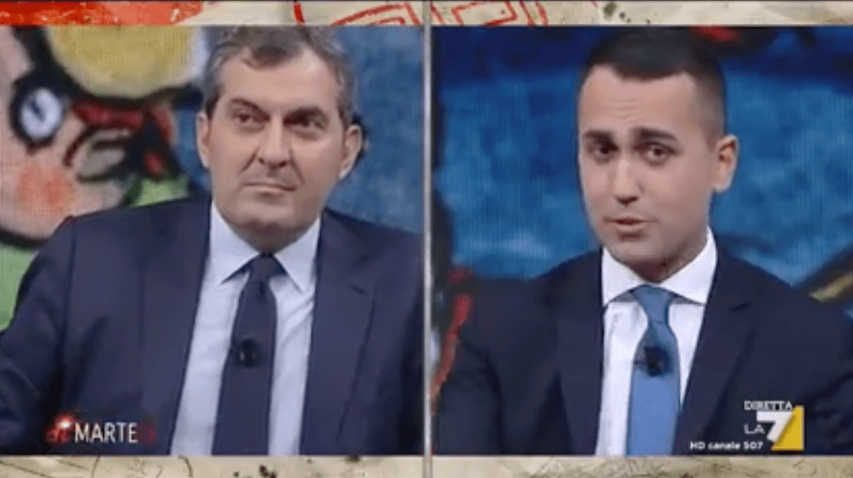 """Di Maio-Calabresi, lite in tv: """"Avete querelato mio padre morto da 46 anni"""""""