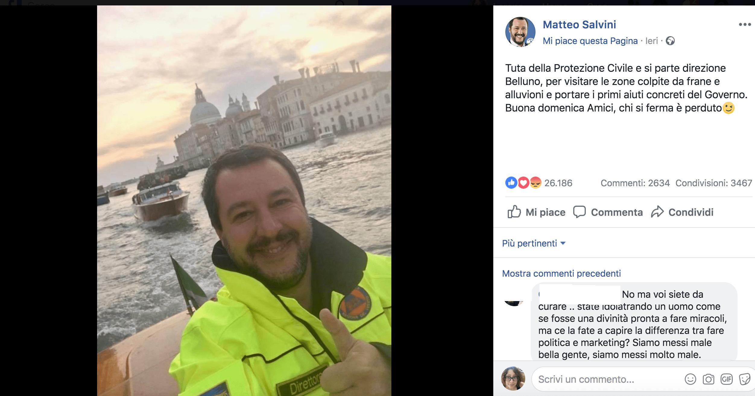 Maltempo in Italia, polemiche per il selfie di Salvini sorridente