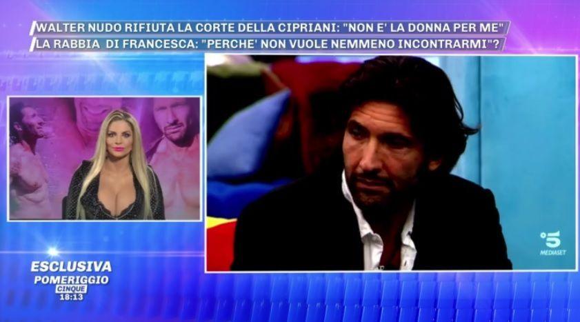 Pomeriggio 5, Francesca Cipriani contro Walter Nudo: 'Maleducato e falso'