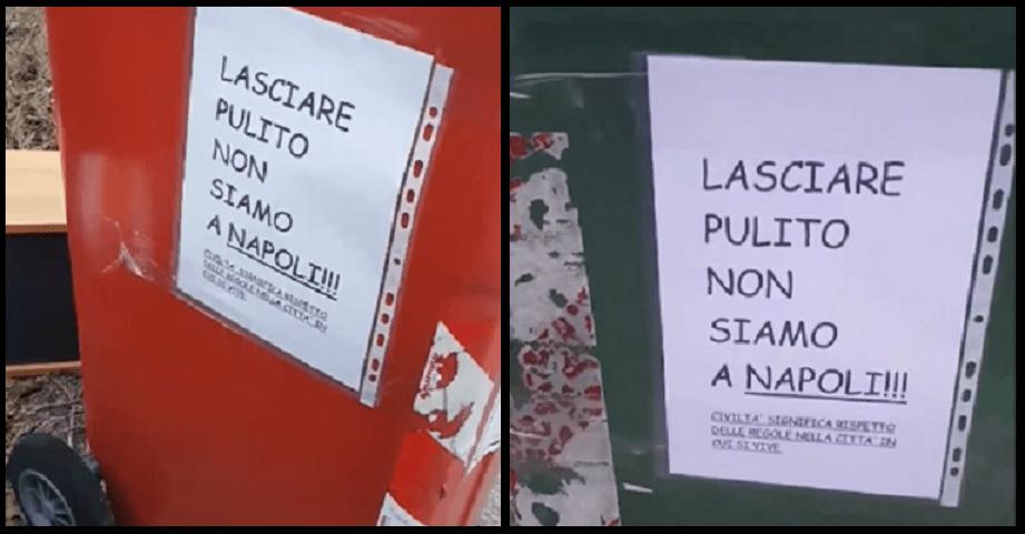 'Lasciate pulito non siamo a Napoli', spuntano cartelli sui cassonetti a Pordenone