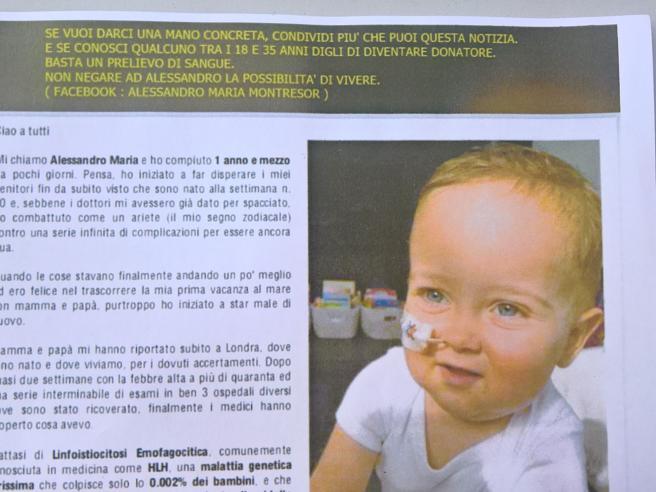 Alessandro Montresor: trapianto di staminali riuscito, il bambino torna a casa