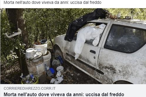 Senzatetto uccisa dal freddo ad Arezzo, dormiva da anni in auto