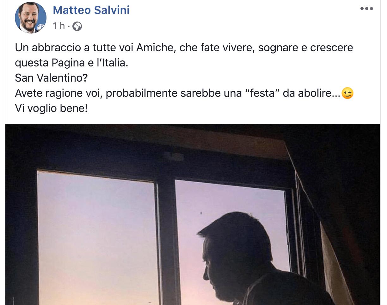 """Salvini su Twitter per San Valentino: """"Festa da abolire"""""""