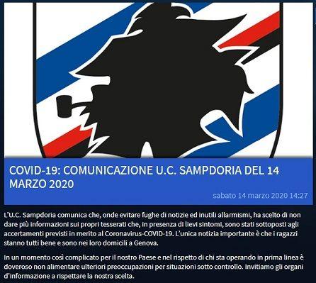 Comunicazione Sampdoria 14-03-2020