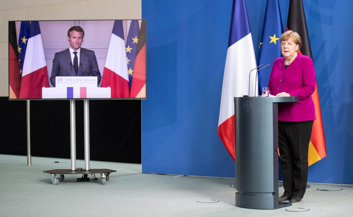 Angela Merkel ed Emmanuel Macron presentano il Recovery fund da 500 miliardi di euro